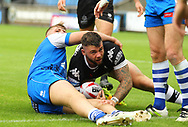 Andy Ackers of Toronto Wolfpack scores the try during the Betfred Super 8s Qualifiers match at Shay Stadium, Halifax<br /> Picture by Stephen Gaunt/Focus Images Ltd +447904 833202<br /> 12/08/2018
