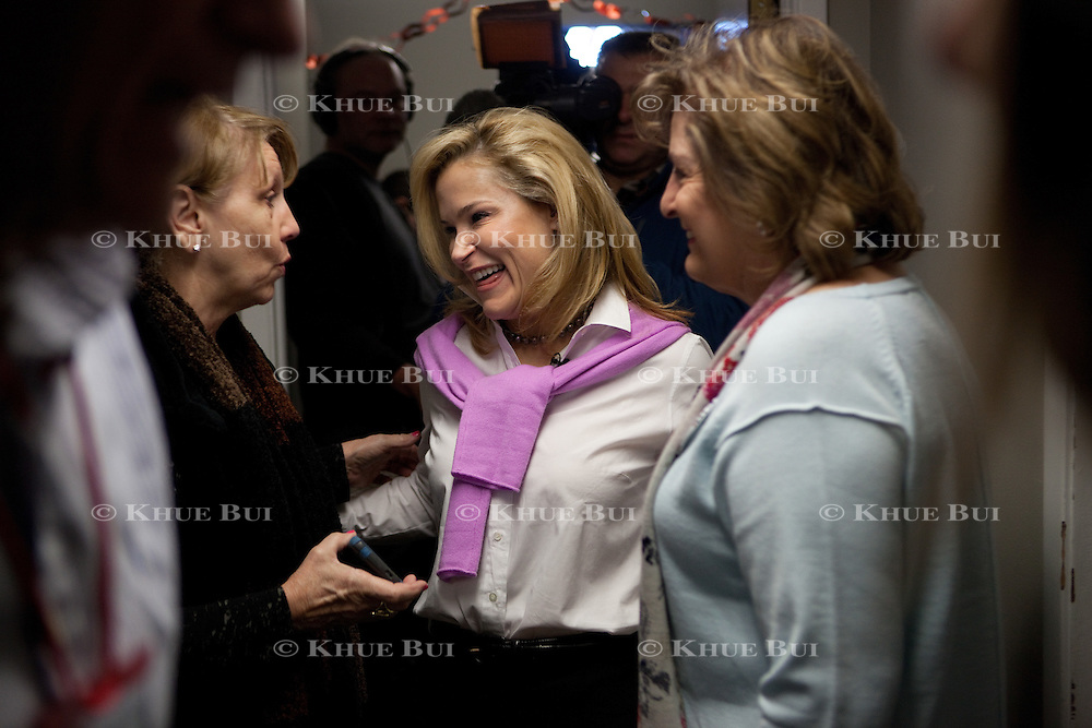 Heidi Cruz, wife of Republican presidential candidate Sen. Ted Cruz (TX), meets with volunteers at 'Camp Cruz' Thursday, January 28, 2016, in Des Moines, IA.<br /> <br /> Photo by Khue Bui