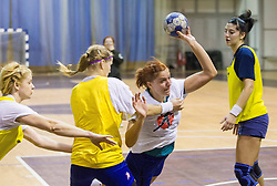 Neza Mitrusevska and Maja Varlec vs Sanja Gregorc  during practice session of Slovenian Women handball National Team three days before match against Serbia, on October 24, 2013 in Arena Tivoli, Ljubljana, Slovenia. (Photo by Vid Ponikvar / Sportida)