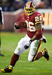 Washington Redskins running back Clinton Portis (26) rushes up field against Philadelphia.  The Washington Redskins defeated the Philadelphia Eagles 10-3 in an NFL football game held at Fedex Field in Landover, Maryland on Sunday, December 21, 2008.
