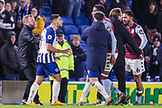 An altercation between Neal Maupay (Brighton) & Ezri Konsa (Aston Villa) as both players went to leave the pitch following the final whistle after the Premier League match between Brighton and Hove Albion and Aston Villa at the American Express Community Stadium, Brighton and Hove, England on 18 January 2020.