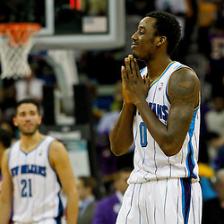 April 9, 2012; New Orleans, LA, USA; New Orleans Hornets small forward Al-Farouq Aminu (0) reacts during the final seconds of a loss to the Los Angeles Lakers at the New Orleans Arena. The Lakers defeated the Hornets 93-91. Mandatory Credit: Derick E. Hingle-US PRESSWIRE