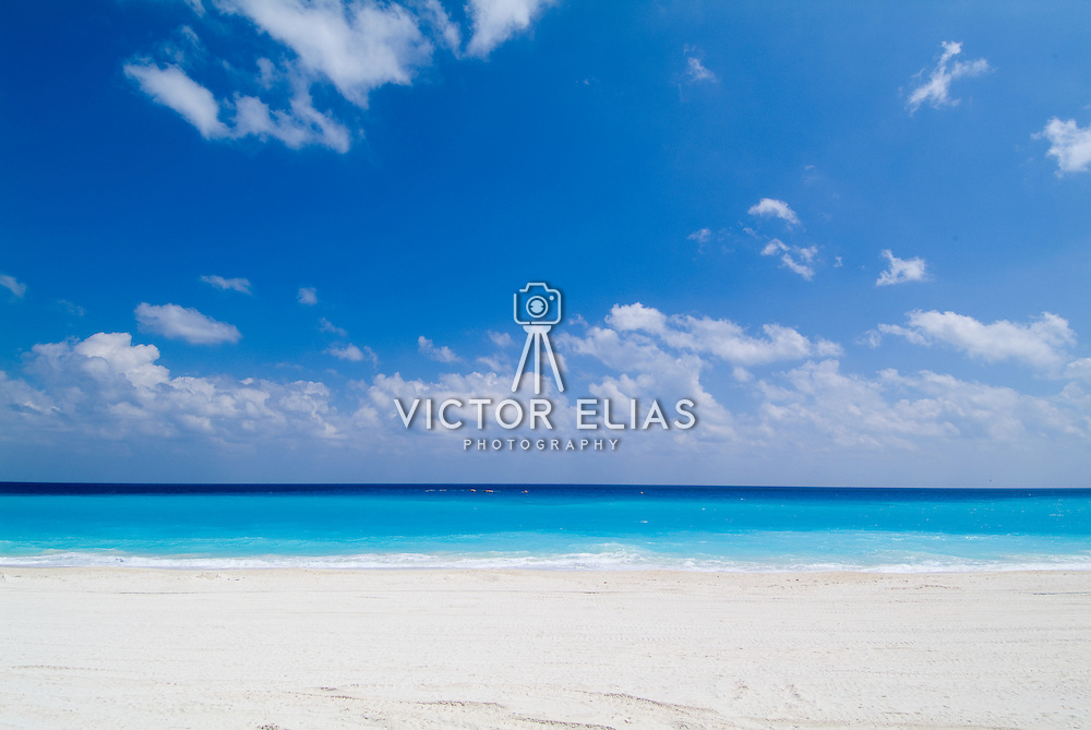The beach of Cancun during reconstruction after hurricane Wilma. Cancun, Quintana Roo. Mexico