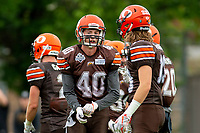KELOWNA, BC - SEPTEMBER 8:  Liam Johnstone #40 and Cole Stregger #19 of Okanagan Sun stand on the field against the Langley Rams at the Apple Bowl on September 8, 2019 in Kelowna, Canada. (Photo by Marissa Baecker/Shoot the Breeze)