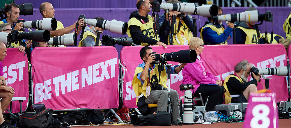 Great Britain, London - 2017 August 07: Photographers work during IAAF World Championships London 2017 Day 4 at London Stadium on August 07, 2017 in London, Great Britain.<br /> <br /> Mandatory credit:<br /> Photo by &copy; Adam Nurkiewicz<br /> <br /> Adam Nurkiewicz declares that he has no rights to the image of people at the photographs of his authorship.<br /> <br /> Picture also available in RAW (NEF) or TIFF format on special request.<br /> <br /> Any editorial, commercial or promotional use requires written permission from the author of image.