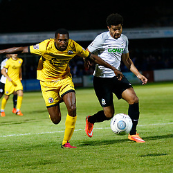APRIL 1:  Dover Athletic against Bromley in Conference Premier at Crabble Stadium in Dover, England. Dover's forward Jamie Allen is kept from the ball by Bromely's Tyrone Sterling. (Photo by Matt Bristow/mattbristow.net)