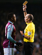Jordan Ayew of Aston Villa is booked after a late challenge on Eric Dier of Tottenham Hotspur  during the Barclays Premier League match at White Hart Lane, London<br /> Picture by Jack Megaw/Focus Images Ltd +44 7481 764811<br /> 02/11/2015