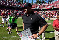 PALO ALTO, CA - OCTOBER 06: Head coach David Shaw of the Stanford Cardinal on the field after the game against the Arizona Wildcats at Stanford Stadium on October 6, 2012 in Palo Alto, California. The Stanford Cardinal defeated the Arizona Wildcats 54-48 in overtime. (Photo by Jason O. Watson/Getty Images) *** Local Caption *** David Shaw