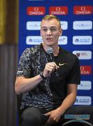 Sam Kendricks (USA) during a news conference at the Intercontinental Doha Hotel-The City, Thursday, May 2, 2019, in Doha, Qatar prior to the 2019 IAAF Diamond League Doha meeting. (Jiro Mochizuki/Image of Sport)