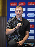 Sam Kendricks (USA) during a news conference at the Intercontinental Doha Hotel-The City, Thursday, May 2, 2019, in Doha, Qatar prior to the 2019 IAAF Diamond League Doha meeting. (Jiro Mochizuki/Image of Sport)