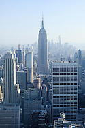 An aerial view of the Empire State Building in New York City, New York.