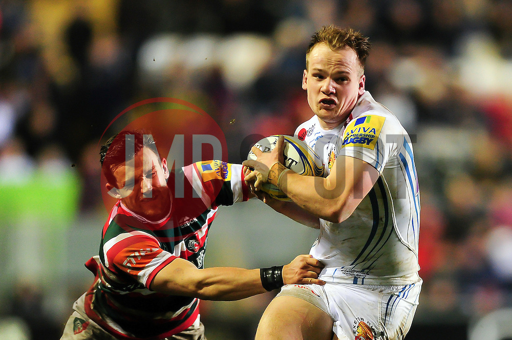 Stuart Townsend of Exeter Chiefs fends Jono Kitto of Leicester Tigers - Mandatory byline: Patrick Khachfe/JMP - 07966 386802 - 03/03/2017 - RUGBY UNION - Welford Road - Leicester, England - Leicester Tigers v Exeter Chiefs - Aviva Premiership.