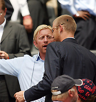 Photo: Chris Ratcliffe.<br /> England v Paraguay. Group B, FIFA World Cup 2006. 10/06/2006.<br /> Boris Becker shows Andy Flintoff to his seat.