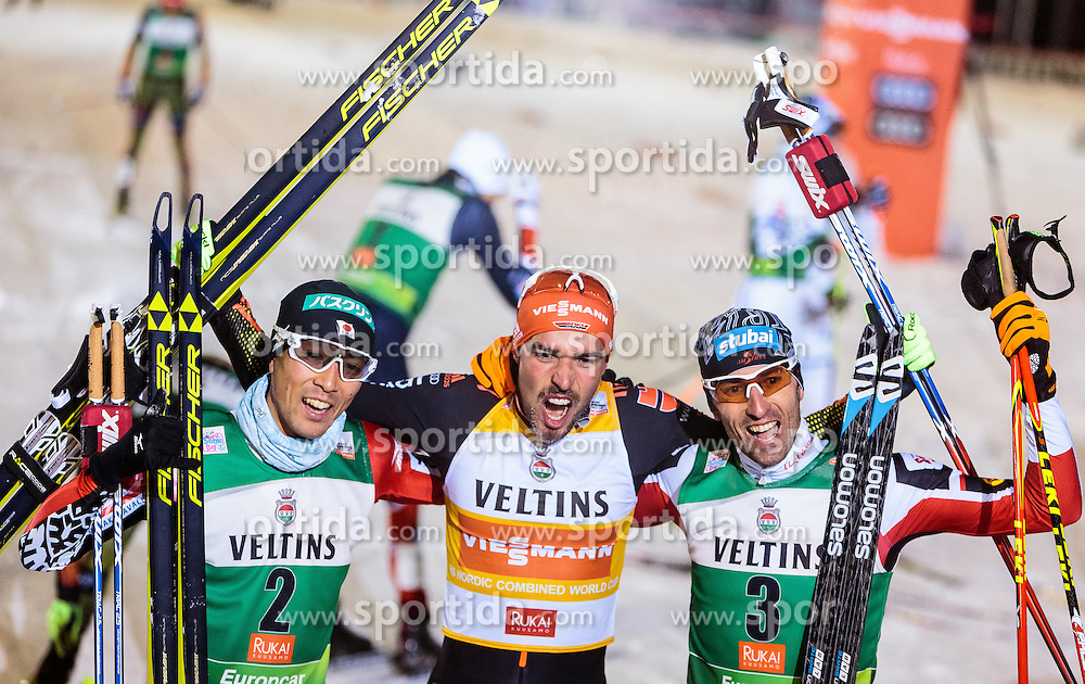 27.11.2016, Nordic Arena, Ruka, FIN, FIS Weltcup Nordische Kombination, Nordic Opening, Kuusamo, Langlauf, im Bild Akito Watabe (JPN, 3. Platz), Sieger Johannes Rydzek (GER), Wilhelm Denifl (AUT, 2. Platz) // 3rd placed Akito Watabe of Japan, Winner Johannes Rydzek of Germany, 2nd placed Wilhelm Denifl of Austria during Cross Country of the FIS Nordic Combined World Cup of the Nordic Opening at the Nordic Arena in Ruka, Finland on 2016/11/27. EXPA Pictures © 2016, PhotoCredit: EXPA/ JFK