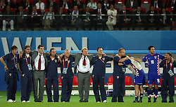 Croatian coaches (Slaven Bilic, ..., Robert Prosinecki) during penalty shots during the UEFA EURO 2008 Quarter-Final soccer match between Croatia and Turkey at Ernst-Happel Stadium, on June 20,2008, in Wien, Austria. Turkey won after penalty shots. (Photo by Vid Ponikvar / Sportal Images)