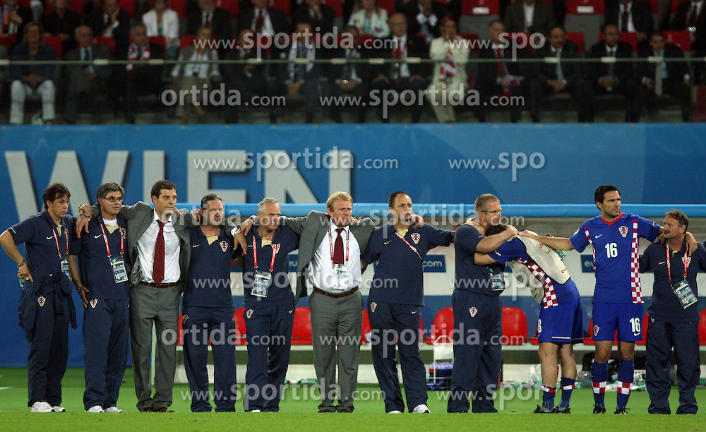 Croatian coaches (Slaven Bilic, ..., Robert Prosinecki) during penalty shots during the UEFA EURO 2008 Quarter-Final soccer match between Croatia and Turkey at Ernst-Happel Stadium, on June 20,2008, in Wien, Austria. Turkey won after penalty shots. (Photo by Vid Ponikvar / Sportal Images)