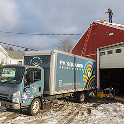 PV Squared truck at a solar installation on a barn in Leyden, Massachusetts.