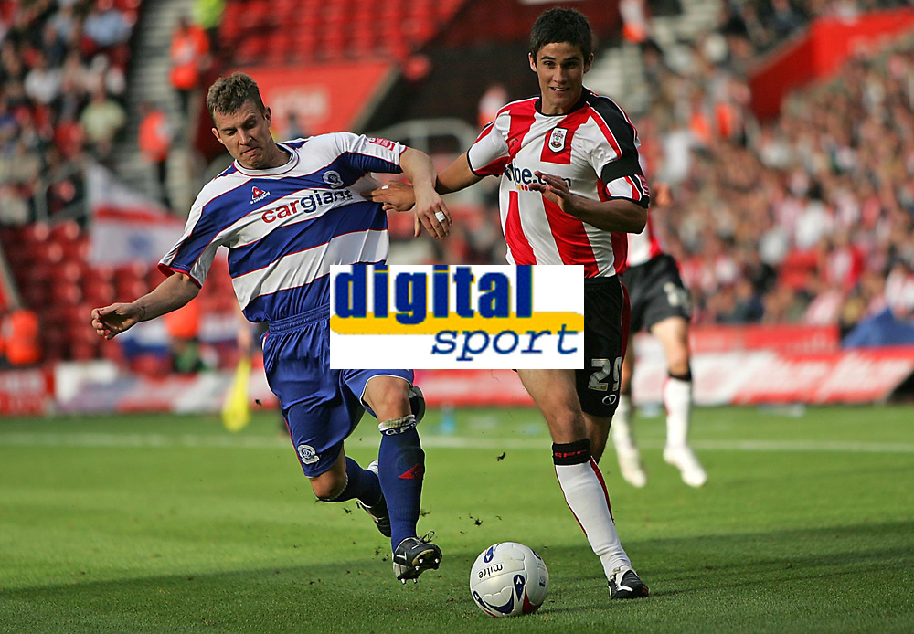 Photo: Lee Earle.<br /> Southampton v Queens Park Rangers. Coca Cola Championship. 30/09/2006. QPR's Martin Rowlands (L) battles with Andrew Surman.