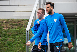 Robert Beric and Amir Drevisevic during practice session of Slovenian national football team, on October 8, 2018 in National Football Center Brdo, Kranj, Slovenia. Photo by Urban Meglic / Sportida