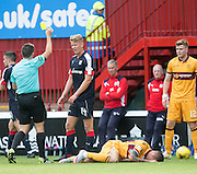 Dundee&rsquo;s Mark O&rsquo;Hara is yellow carded - Motherwell v Dundee in the Ladbrokes Scottish Premiership at Fir Park, Motherwell. Photo: David Young<br /> <br />  - &copy; David Young - www.davidyoungphoto.co.uk - email: davidyoungphoto@gmail.com