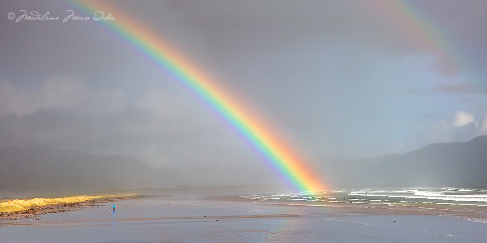 Person and dog enjoying a walk under the colourful double rainbow at Reenroe Beach near Ballinskelligs, County Kerry, Ireland / rb003