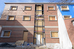 Major Renovation Litchfield Hall WCSU Danbury CT<br /> Connecticut State Project No: CF-RD-275<br /> Architect: OakPark Architects LLC  Contractor: Nosal Builders<br /> James R Anderson Photography New Haven CT photog.com<br /> Date of Photograph: 28 February 2017<br /> Camera View: 09 - South Elevation, West End
