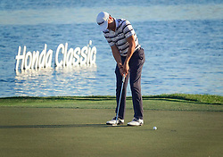 February 28, 2019 - Florida, U.S. - Justin Thomas putts on 18 during the first round of The Honda Classic Thursday, February 28, 2019 at the PGA National Resort & Spa in Palm Beach Gardens. (Credit Image: © Bruce R. Bennett/The Palm Beach Post via ZUMA Wire)