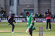 Jonny Bairstow of England attempts a run-out during the One Day International match between England and Ireland at the Brightside County Ground, Bristol, United Kingdom on 5 May 2017. Photo by Andrew Lewis.