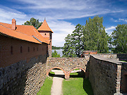 View of a portion of the wall surrounding Trakai Castle, one of Lithuania's most famous historicl sites.