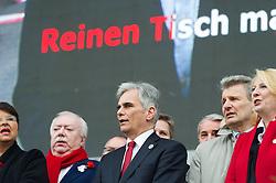 """01.05.2016, Rathausplatz, Wien, AUT, SPÖ, Traditioneller Maiaufmarsch am Tag der Arbeit unter dem Motto """"Unsere Stärke: Sozialer Zusammenhalt!"""". im Bild v.l.n.r. Landeshauptmann und Bürgermeister von Wien Michael Häupl (SPÖ), Bundeskanzler Werner Faymann (SPÖ) und ÖGB- Präsident Erich Foglar // f.l.t.r. Mayor of Vienna Michael Haeupl (SPOe), Federal Chancellor of Austria Werner Faymann and President of the Austrian Trade Union Federation Erich Foglar during labour day celebration of the austrian social democratic party at Rathausplatz in Vienna, Austria on 2016/05/01. EXPA Pictures © 2016, PhotoCredit: EXPA/ Michael Gruber"""