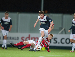 Falkirk's Conor McGrandles with Hamilton's Alistair Crawford.<br /> Falkirk 0 v 0 Hamilton, Scottish Championship game at The Falkirk Stadium. &copy; Michael Schofield 2014.