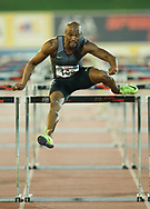 JOHANNESBURG, SOUTH AFRICA - MARCH 22: Antonio Alkana wins the mens 110m hurdles during the ASA Speed Series 4 at Germiston Stadium on March 22, 2017 in Johannesburg, South Africa. (Photo by Roger Sedres/ImageSA)