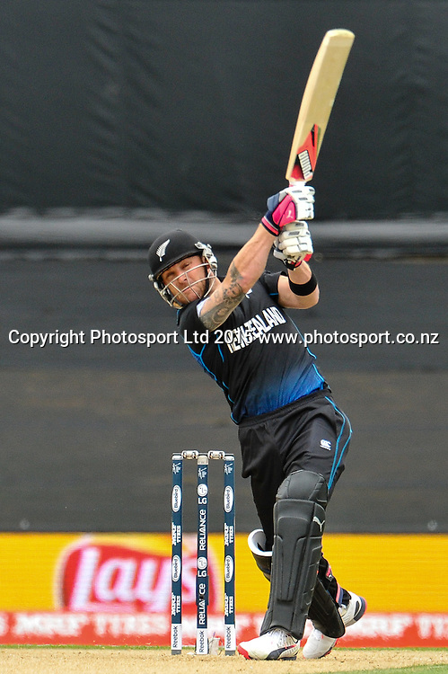 Brendon McCullum of the Black Caps 6 during the ICC Cricket World Cup match between New Zealand and Sri Lanka at Hagley Oval in Christchurch, New Zealand. Saturday 14 February 2015. Copyright Photo: John Davidson / www.Photosport.co.nz