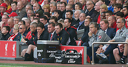 LIVERPOOL, ENGLAND - Sunday, May 19, 2013: Liverpool's manager Brendan Rodgers with and assistant manager Colin Pascoea on the bench during the final Premiership match of the 2012/13 season against Queens Park Rangers at Anfield. (Pic by David Rawcliffe/Propaganda)