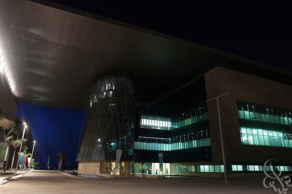 The administration building illuminated at night on the central King Abdullah University of Science and Technology (KAUST) campus.  KAUST is an international, graduate-level research university dedicated to inspiring a new age of scientific achievement in the Kingdom that will also benefit the region and the world. (Photo by Scott Nelson)