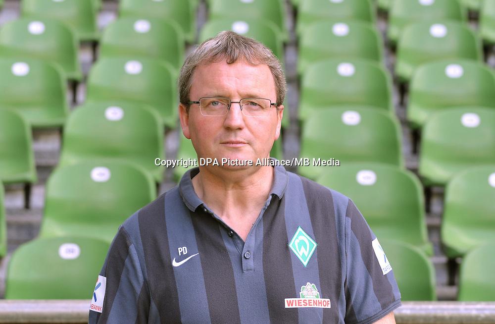 German Soccer Bundesliga - Official Photocall Werder Bremen,  Germany, on Sept. 14th 2014:<br /> Material Guard Peter Detjen.