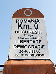 Signpost from which all distances are measured in Romania in University Square Bucharest