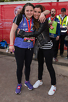 Tana Ramsay (right) with her daughter Megan after finishing the race. The Virgin Money London Marathon, 23rd April 2017.<br /> <br /> Photo: Joanne Davidson for Virgin Money London Marathon<br /> <br /> For further information: media@londonmarathonevents.co.uk