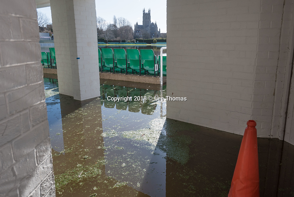 Worcester, Worcestershire, UK. 5th April 2018. Despite a respite in the weather, flood waters remain high in Worcester with the race course and county cricket club partially covered in the wet stuff. Pictured:  Worcester County Cricket Club remains submerged  with their first home fixture only 3 weeks away.  // Lee Thomas, Tel. 07784142973. Email: leepthomas@gmail.com  www.leept.co.uk (0000635435)