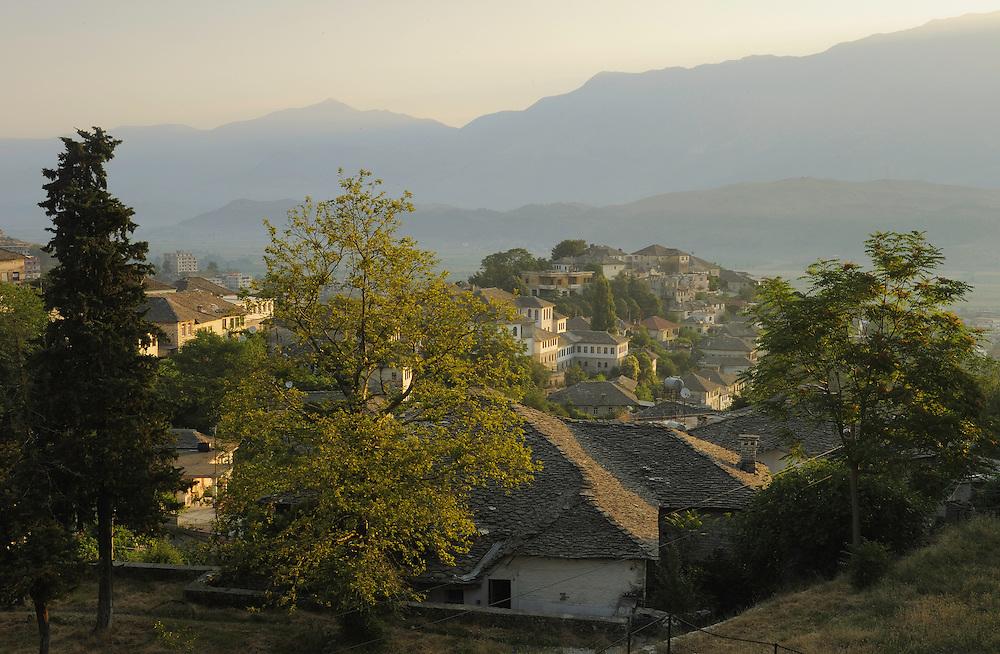 Morning-light over the old city of Gjirokastra. Albania June 2009