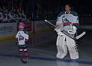 KELOWNA, CANADA - NOVEMBER 11:  Pepsi Player of the Game with James Porter #1 of the Kelowna Rockets at the Kelowna Rockets game on November 11, 2017 at Prospera Place in Kelowna, British Columbia, Canada.  (Photo By Cindy Rogers/Nyasa Photography,  *** Local Caption ***