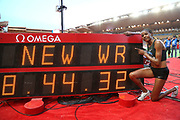 Beatrice Chepkoech (KEN) poses with the scoreboard after winning the women's steeplechasse in a world record 8:44.32 during the Herculis Monaco in an IAAF Diamond League meet at Stade Louis II stadium in Fontvieille, Monaco on Friday, July 20, 2019.  Jiro Mochizuki/Image of Sport)