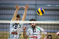 Bedrač Žan of Panvita Pomgrad and Plesec Vasja of Panvita Pomgrad during volleyball match between Panvita Pomgrad and Šoštanj Topolšica of 1. DOL Slovenian National Championship 2019/20, on December 14, 2019 in Osnovna šola I, Murska Sobota, Slovenia. Photo by Blaž Weindorfer / Sportida