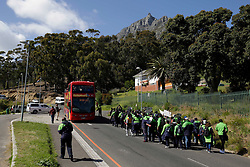 Wednesday 28 September 2016.<br /> Table Mountain, Cape Town, South Africa.<br /> <br /> Table Mountain Aerial Cableway Company Workers Strike.<br /> <br /> Workers at the Table Mountain Aerial Cableway Company (TMACC) strike over wage increases and their conditions of employment on Tafelberg Road below the Lower Cableway on the slopes of Table Mountain in Cape Town, South Africa. The SA Commercial, Catering and Allied Workers Union (SACCAWU) has warned that there would be conflict if scab labour was brought in to run operations. This is the first strike in the Cableway's 87-year-old history. This image taken on Wednesday 28th September 2016. <br /> <br /> Photo by:  Mark Wessels / RealTime Images