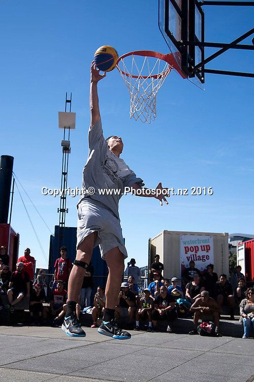 "The ""Slam Dunk"" competition during the 3x3 National Basketball tour in Wellington on Saturday the 12th March 2016. Copyright Photo by Marty Melville / www.Photosport.nz"