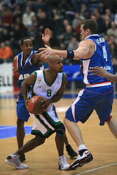Best Travis (8) and William Jared Homan (4) at Euroleague match between KK Cibona and Air Avellino, on November 26, 2008, in Cibona Tower, Zagreb, Croatia. Match was won by Cibona 82:79. (Photo by Vid Ponikvar / Sportida)