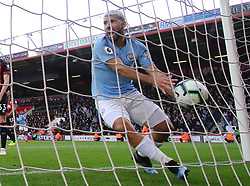 Manchester City's Sergio Aguero celebrates his side's first goal of the game scored by Riyad Mahrez (not pictured) during the Premier League match at The Vitality Stadium, Bournemouth.