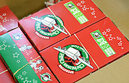 Some of the shoebox packed gifts that have been loaded into boxes during Operation Christmas Child's National Collection Week Thursday November 19, 2015 in Langhorne, Pennsylvania.  (Photo by William Thomas Cain/Cain Images)