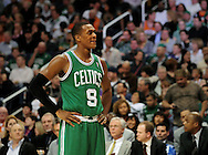 Jan. 28, 2011; Phoenix, AZ, USA; Boston Celtics guard Rajon Rondo (9) reacts on the court against the Phoenix Suns at the US Airways Center.  The Suns defeated the Celtics 88-71. Mandatory Credit: Jennifer Stewart-US PRESSWIRE