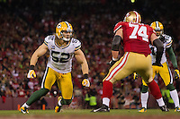 12 January 2013: Linebacker (52) Clay Matthews of the Green Bay Packers in game action against the San Francisco 49ers during the second half of the 49ers 45-31 victory over the Packers in an NFL Divisional Playoff Game at Candlestick Park in San Francisco, CA.